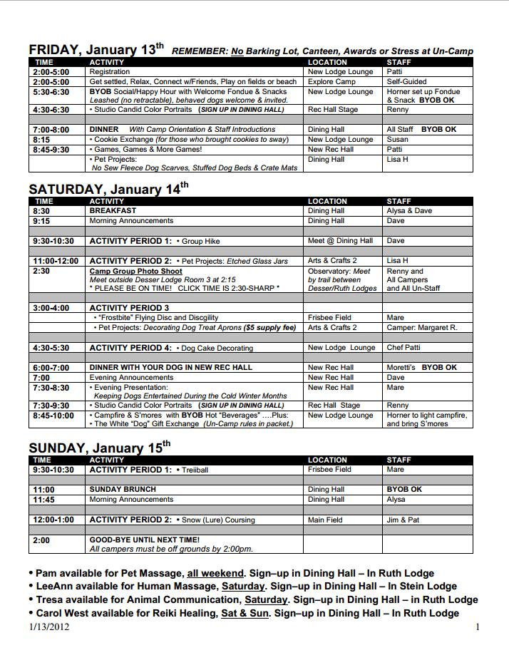 Example Winter Schedule